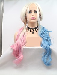 cheap -Synthetic Lace Front Wig Curly Deep Wave Layered Haircut Lace Front Wig Pink Long Light Blue Synthetic Hair 24 inch Women's Cosplay Women Ombre Hair Blue Pink Sylvia