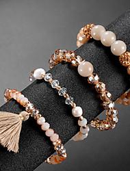 cheap -4pcs Women's Bead Bracelet Vintage Bracelet Earrings / Bracelet Layered Blessed Classic Tassel Vintage Cute Elegant Glass Bracelet Jewelry Champagne For Daily School Street Holiday Festival