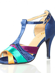 cheap -Women's Dance Shoes Faux Leather Latin Shoes Heel Slim High Heel Customizable Blue / Performance / Practice