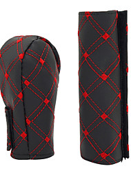 cheap -Car Faux Leather Gear Shift Knob Cover Hand Brake Cover Sleeve 2 in 1 Set Red/White