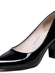 cheap -Women's Heels Chunky Heel Patent Leather Spring Black / Almond / Red / Daily