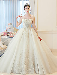 cheap -Ball Gown Bateau Neck Chapel Train Lace / Tulle 3/4 Length Sleeve Sparkle & Shine Made-To-Measure Wedding Dresses with Beading / Embroidery / Lace 2020