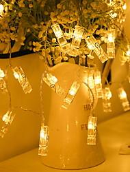 Недорогие -1 м держатели для фотографий клипса 10 ламп светлая теплая белая спальня декоративные батареи 1 комплект