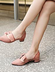 cheap -Women's PU(Polyurethane) Spring Heels Block Heel Pointed Toe Black / Pink / Almond