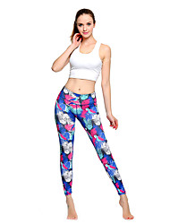 cheap -Women's High Waist Yoga Pants Cropped Leggings Breathable Quick Dry Moisture Wicking Blue Lycra Non See-through Gym Workout Running Fitness Sports Activewear High Elasticity Slim / Full Length