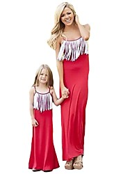 cheap -Mommy and Me Active Basic Solid Colored Tassel Sleeveless Long Maxi Maxi Cotton Dress Red