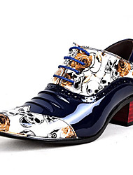 cheap -Men's Formal Shoes Patent Leather Spring / Fall Business / Casual Oxfords Non-slipping Black / White / Blue / Dress Shoes