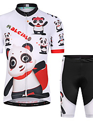 cheap -Malciklo Boys' Girls' Short Sleeve Cycling Jersey with Shorts - Kid's White Floral Botanical Bike Clothing Suit UV Resistant Breathable Moisture Wicking Quick Dry Reflective Strips Sports Lycra
