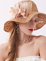 cheap -Tulle / Organza / Net Hats / Headwear with Faux Pearl / Feathers / Fur / Appliques 1 Piece Wedding / Outdoor / Horse Race Headpiece