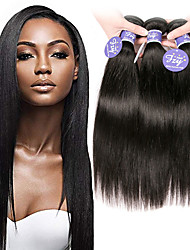 cheap -3 Bundles Indian Hair Straight 100% Remy Hair Weave Bundles Natural Color Hair Weaves / Hair Bulk Bundle Hair Human Hair Extensions 8-28 inch Natural Color Human Hair Weaves Odor Free Easy to Carry