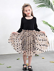 cheap -Kids Toddler Girls' Active Sweet Galaxy Mesh Patchwork Print Long Sleeve Midi Dress Black / Cotton
