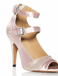 cheap -Women's Latin Shoes Satin Heel Slim High Heel Dance Shoes Nude / Performance / Leather / Practice
