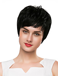 cheap -Synthetic Wig kinky Straight Natural Straight Pixie Cut Wig Short Natural Black Synthetic Hair 8 inch Women's Synthetic New Comfortable Black / African American Wig / Doll Wig / For Black Women