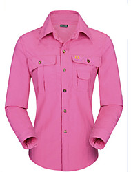 cheap -Women's Hiking Shirt / Button Down Shirts Long Sleeve Outdoor Windproof Ventilation Quick Dry Stretchy Shirt Top Autumn / Fall Spring Chinlon Fuchsia Khaki Climbing Camping / Hiking / Caving
