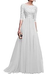cheap -Women's Boho Maxi Slim Sheath Dress - Solid Colored Dusty Rose, Lace Patchwork Lace Black Wine Purple S M L XL