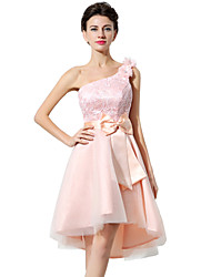 cheap -A-Line One Shoulder Asymmetrical Lace / Tulle Cute / Minimalist Cocktail Party / Homecoming Dress with Appliques / Bow(s) 2020