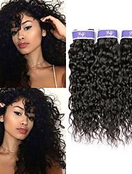 Недорогие -3 Связки Индийские волосы Волнистые Необработанные натуральные волосы 100% Remy Hair Weave Bundles 300 g Головные уборы Человека ткет Волосы Пучок волос 8-28 дюймовый Нейтральный Естественный цвет