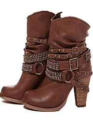 cheap -Women's Faux Leather / PU(Polyurethane) Spring &  Fall / Fall & Winter Boots Chunky Heel Coffee / Brown / Khaki / Party & Evening