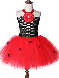 cheap -Mesh Dot Ladybug Girl Tutu Dress Flower Princess Baby Birthday Party Skirt