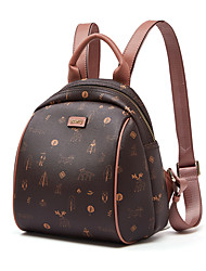 cheap -Rabbit Hair PU Pattern / Print / Zipper Commuter Backpack Color Block Daily Coffee / Fall & Winter