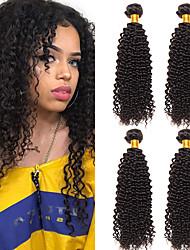 cheap -4 Bundles Peruvian Hair Kinky Curly Unprocessed Human Hair 100% Remy Hair Weave Bundles Natural Color Hair Weaves / Hair Bulk Bundle Hair Human Hair Extensions 8-28 inch Natural Human Hair Weaves