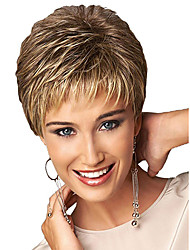 cheap -Synthetic Wig Bangs Curly Free Part Wig Blonde Short Light golden Synthetic Hair 12 inch Women's Women Synthetic Color Gradient Blonde