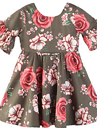 cheap -Baby Girls' Basic Floral Short Sleeve Cotton Dress Fuchsia / Toddler
