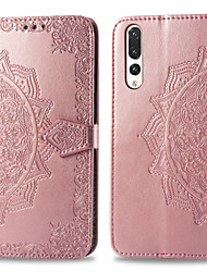 cheap -Case For Huawei P20 Pro Card Holder / Flip Full Body Cases Solid Colored Hard PU Leather for Huawei P20 Pro
