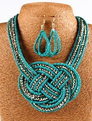 cheap -Women's Green Crystal Drop Earrings Necklace Braided Knot Earrings Jewelry White / Black / Blue For Daily 1 set