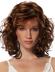 cheap -Synthetic Wig Bangs Curly Free Part Wig Medium Length Brown / Burgundy Synthetic Hair 18 inch Women's Fashionable Design Women Synthetic Brown