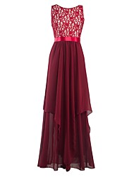 cheap -Sheath / Column Jewel Neck Long Length Chiffon Bridesmaid Dress with Ruching