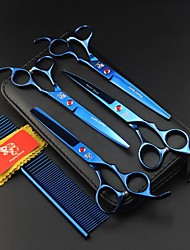 cheap -Dog Rabbits Cat Grooming Grooming Scissors Stainless steel Scissor Portable Pet Grooming Supplies Blue