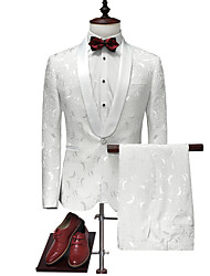 cheap -Tuxedos Tailored Fit / Standard Fit Shawl Collar Single Breasted One-button Polyester Plaid / Check / Solid Colored
