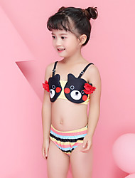cheap -Girls' Two Piece Swimsuit Swimwear Breathable 2-Piece - Swimming Diving Painting Patchwork Summer / High Elasticity / Kid's