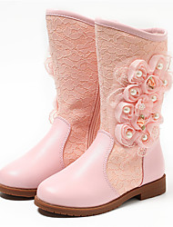 cheap -Girls' Boots Fashion Boots Flower Girl Shoes Leather Toddler(9m-4ys) Little Kids(4-7ys) Big Kids(7years +) Wedding Daily Pearl Flower White Light Pink Winter Fall & Winter / Knee High Boots