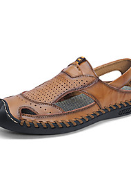 cheap -Men's Comfort Shoes Cowhide Spring & Summer Sporty / Casual Sandals Breathable Black / Brown