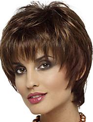 Недорогие -Парики из искусственных волос Чёлки Кудрявый Стиль Свободная часть Без шапочки-основы Парик Brown / Burgundy Искусственные волосы 12 дюймовый Жен. Модный дизайн Женский синтетический Коричневый Парик