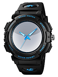 cheap -SKMEI Men's Dress Watch Quartz Silicone Black 50 m Water Resistant / Waterproof LED Light Analog Outdoor Fashion - Black Blue One Year Battery Life