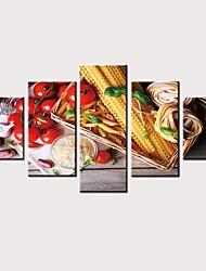 Недорогие -С картинкой Роликовые холсты Отпечатки на холсте - Натюрморт Продукты питания Винтаж Modern 5 панелей Репродукции