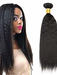 Недорогие -4 Связки Перуанские волосы Вытянутые Необработанные натуральные волосы 200 g Человека ткет Волосы Пучок волос Накладки из натуральных волос 8-28 дюймовый Естественный цвет Ткет человеческих волос