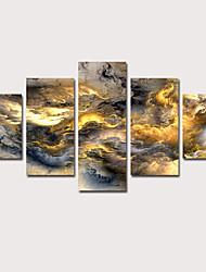 Недорогие -С картинкой Отпечатки на холсте - Абстракция Звезды и планеты Классика Modern 5 панелей Репродукции