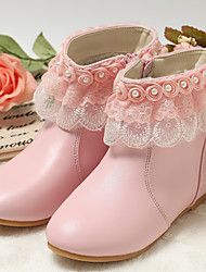 cheap -Girls' Fashion Boots / Flower Girl Shoes / Children's Day Leather Boots Toddler(9m-4ys) / Little Kids(4-7ys) Zipper White / Light Pink Winter / Fall & Winter / Mid-Calf Boots