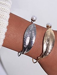 cheap -2pcs Women's Bracelet Bangles Cuff Bracelet Earrings / Bracelet Layered Leaf Simple Classic Vintage Casual / Sporty Fashion Imitation Pearl Bracelet Jewelry Gold For Daily School Street Holiday