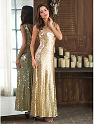 cheap -Sheath / Column Jewel Neck Ankle Length Sequined Bridesmaid Dress with Sequin