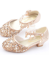 cheap -Girls' Heels Comfort Flower Girl Shoes Princess Shoes PU Little Kids(4-7ys) Big Kids(7years +) Daily Home Walking Shoes Sequin Pink Gold Silver Summer