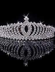 cheap -Women's Girls' Tiaras For Casual Prom Party & Evening Birthday Homecoming Royalty Crystal / Rhinestone Silver Plated Alloy Silver
