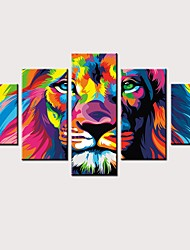 cheap -Print Rolled Canvas Prints Stretched Canvas Prints - Animals Cartoon Vintage Modern Five Panels Art Prints