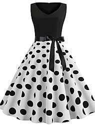 cheap -Women's 2020 White Black Dress Elegant Vintage Spring & Summer Sheath Polka Dot Lace up S M
