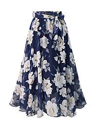 abordables -Femme Grandes Tailles Chic de Rue Maxi Balançoire Jupes - Fleur Mousseline de Soie Noir Bleu L XL XXL