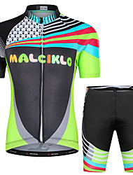 cheap -Malciklo Boys' Girls' Short Sleeve Cycling Jersey with Shorts - Kid's Black Floral Botanical Bike Clothing Suit UV Resistant Breathable Moisture Wicking Quick Dry Reflective Strips Sports Lycra